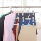 素雅带夹子衣架裤架 可叠加裤子晾晒架 衣橱衣物收纳架 YM-131 绿色