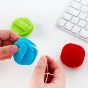 创意卡扣式糖果色绕线器集线器理线器耳机线收纳 粉色