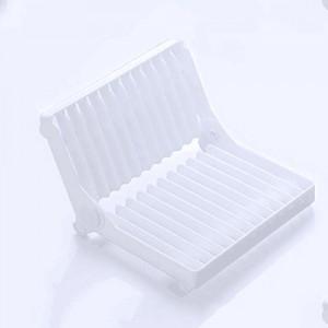 可折叠杯碗盘子沥水收纳架--白色
