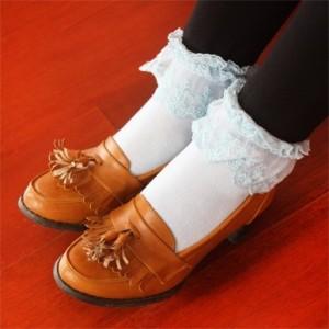 蕾丝边学院风复古袜子(淡蓝色)