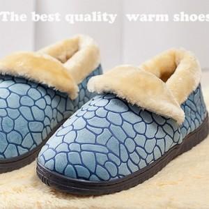 冬季保暖居家棉鞋 全包跟-蓝色 28码