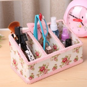 韩国蕾丝花边3格桌面收纳盒 遥控器收纳 横梯形 粉色星星