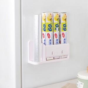 厨房创意粘贴式纸巾架 冰箱保鲜膜多功能收纳架 玫红