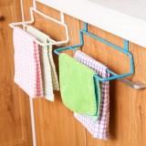 厨房橱柜门背式双杆毛巾架 无痕抹布挂架 多用途杂物挂 白色