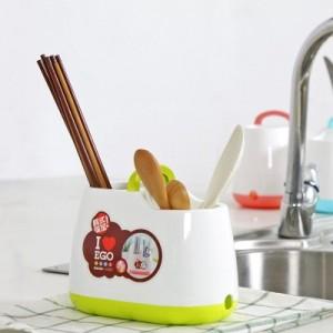 手提韩式小清新筷子笼筷子筒 餐具勺子收纳盒 蓝色