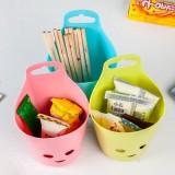 笑脸挂式收纳盒 有孔塑料吊篮厨房筷子餐具笼 浴室收纳篮子 小号 粉色