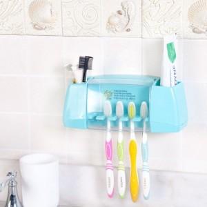 创意强力粘贴式牙膏牙刷架 浴室洗漱用品收纳架 绿色