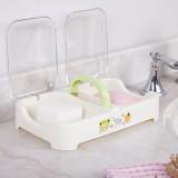 手提式翻盖沥水皂盒 时尚双体透明盖双格肥皂盒香皂盒 绿色