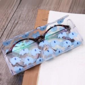 可爱便携透卡通近视眼镜盒 软收纳盒 593AF 粉色 猫咪