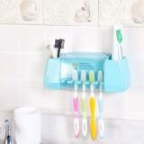 创意强力粘贴式牙膏牙刷架 浴室洗漱用品收纳架 蓝色