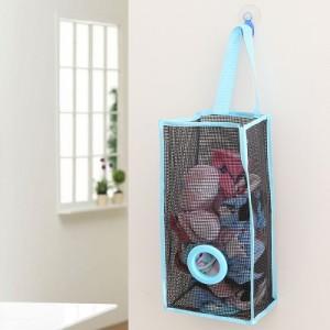 透气网格吊挂式厨房垃圾袋收纳袋 环保塑料袋抽取袋(大号) 蓝色