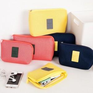 海绵夹层防震数码收纳包 旅行防水电源数据线充电器整理袋 大号 黄色