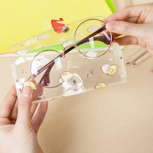 韩国小清新眼镜盒 卡通可爱女生透明可视眼镜盒收纳 593AK 黄色柠檬
