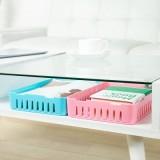 卡扣式桌面收纳篮 多用抽屉整理可叠加收纳盒(大号) 蓝色