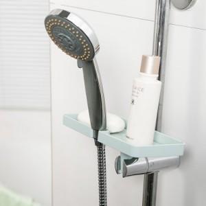 创意日式素色浴室花洒置物架 卫生间洗浴用品小平台收纳架 浅绿色