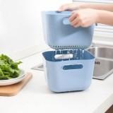 加高造型欧式果蔬沥水篮2件套 方形手柄滴水箩厨房洗菜篮 卡其色