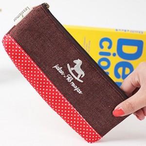 韩国小清新棉麻时光布艺拼接 笔袋 咖啡 大红