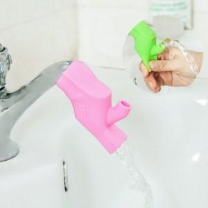 儿童两用糖果色高弹性硅胶水龙头延伸器 刷牙漱口导水槽 粉色