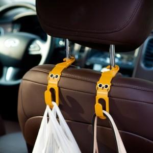 创意家居卡通萌猫车载挂钩 汽车座椅背挂钩(两个装)JY107 米色