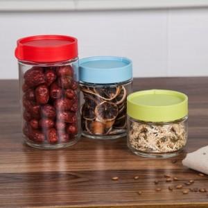 食品真空透明苏打玻璃密封罐 储物罐 防潮花茶坚果收纳罐(中号) 红色