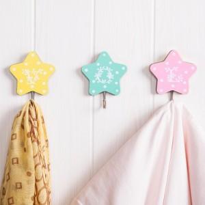 创意可爱星星厨房浴室无痕强力粘钩 五角星免钉挂钩 202A 绿色
