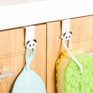 日式创意多功能厨房挂钩 卡通橱柜门背式壁挂(2个装) 灰色