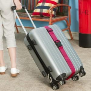 出国旅行行李箱一字打包带 旅行箱加固托运绑带(5cm 黑扣) 玫红