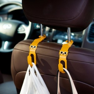 创意家居卡通萌猫车载挂钩 汽车座椅背挂钩(两个装)JY107 棕色
