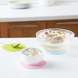 圆形加厚耐高温硅胶防烫隔热垫 小号餐具防烫垫 FTK072 粉色