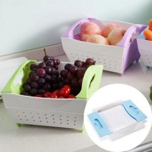 可折叠居家蔬菜水果沥水篮 果蔬收纳篮 绿色