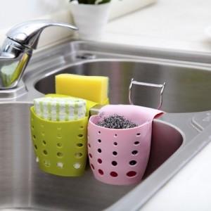 创意设计厨房清洁马鞍式水槽镂空沥水篮    粉色