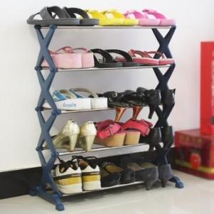 简易不锈钢塑料鞋架 五层DIY实用鞋柜 粉色