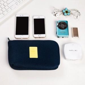 海绵夹层防震数码收纳包 旅行防水电源数据线充电器整理袋 小号 藏青色