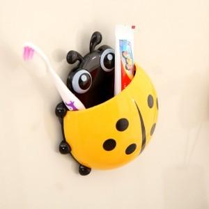 创意瓢虫强力吸盘牙膏牙刷架(黄色)OPP袋 250个/箱