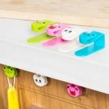 多用可爱动物橱柜门背式挂钩 创意无痕免钉挂钩(2个装)  粉色