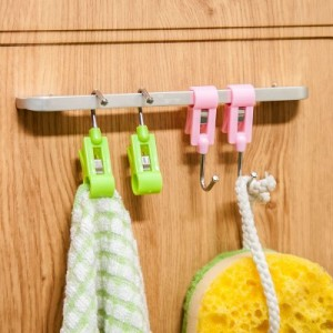 日式糖果色多用小夹子挂钩 钢管防风晾晒小夹子(4个装) 绿色