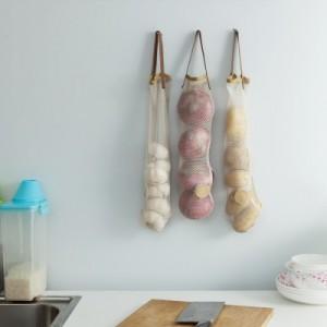 厨房墙面挂式收纳网袋 可抽取式网状果蔬收纳袋 JY114