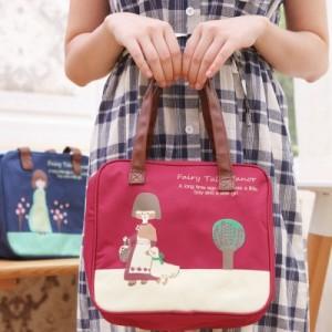 花园女孩方形购物袋 多功能帆布手拎包 SV13-292 粉色