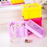 糖果色有盖锁扣笑脸桌面收纳盒 首饰整理盒 粉色
