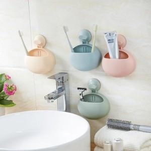 强力吸盘多用途浴室置物架 卫生间牙刷架肥皂架水槽海绵挂 YM-129 杏色