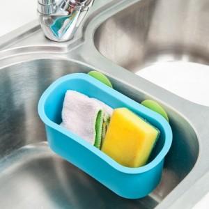 多功能厨房水槽沥水架 浴室壁挂双吸盘收纳置物架 沥水篮 红色