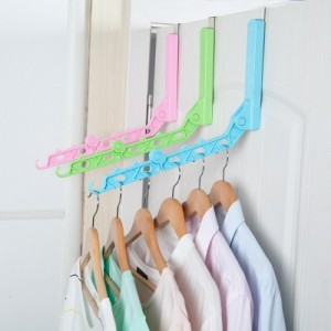 日式室内免打孔可折叠衣服晾晒杆 单杆简易挂衣杆晾衣挂架 粉色