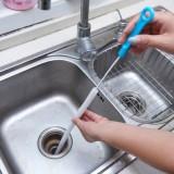 加长可弯曲卫浴厨房管道疏通器疏通刷管道刷 蓝色