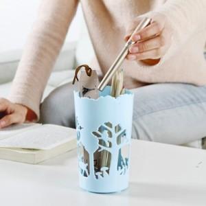 小清新森林动物款笔筒收纳篮桌面收纳盒 镂空文具筒 蓝色