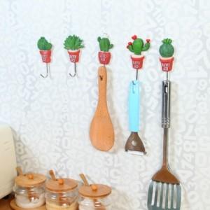 多功能不锈钢挂钩强力不黏钩 厨房免钉无痕门后墙壁小粘钩 爱心仙人掌