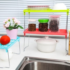 加厚加固多用可叠加多层置物架 厨房可折叠桌面杂物收纳架(小号) 红色