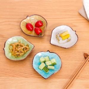 创意冰裂釉陶瓷碟 调味碟 酱料碟 火锅碟树叶碟  绿色