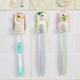 创意卡通刺猬树脂粘胶牙刷架 壁挂情侣牙具挂架 收纳挂架 绿色刺猬