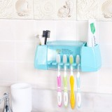 创意强力粘贴式牙膏牙刷架 浴室洗漱用品收纳架 粉色