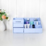 韩国创意塑料抽屉式多格化妆品收纳盒 多功能桌面分隔整理盒 粉色